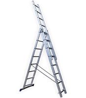 Алюминиевая трехсекционная лестница стремянка STAIRS 8 ступеней L308