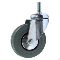 Колесо поворотное из серой резины со штыревым креплением SCtg25M10
