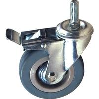 Колесо поворотное с тормозом из серой резины со штыревым креплением SCtg25